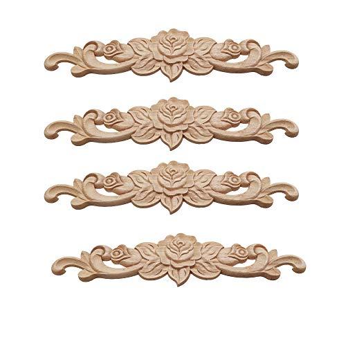 Decorazione applique in legno,applique ad angolo in legno,applique lungo intagliato,adatto per porte, mobili, armadi, pareti,(4 pezzi)