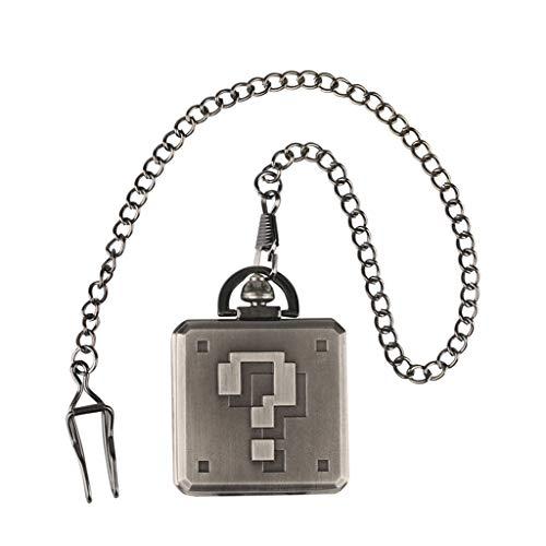 XY&DQ Taschenuhr Kreative Fragezeichen Design Pocket Watch Square Steampunk Anhänger Uhr Geschenke für Studenten Neuankömmling, schwarz