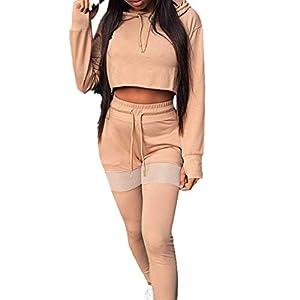 Hibote Damen Sporthose Fitness Running Tops T Shirt + Trainingshose Pants Yoga Sport Anzug 2 Teilig Sportanzug Trainingsanzug Langarm Kapuzenpullover Outfit Bekleidungssets