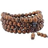 mookaitedecor 108 Mala Bracelet Perles de Prière en Bois Yoga Collier pour Homme...