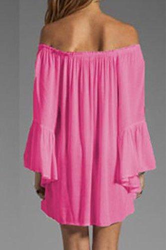 Damen Langarm aus der Schulter-T-Shirt-Kleid Rose