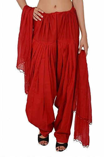 Bottomline Women Printed Cotton Solid Full Patiala Salwar Dupatta Set ( Red, Free Size)