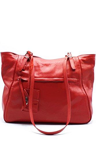 Borsa a spalla donna in vera pelle Rosso