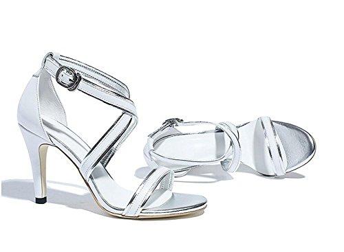 Beauqueen Open-Toe X-cinghie Gattino media sandali tacco donne semplici casuale del lavoro Beach sandali Europa formato 34-39 White