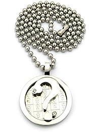 Original collier de ton argent à pendentif de point d'interrogation dans un cercle marqué de signes masculins, chaîne à balles en acier inoxydable l.3 mm L.61 cm