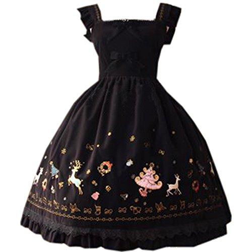 ische Stickerei Lolita Kleid Sankt-Druck-Bonbon Bowknots JSK, Chinese XL, Schwarz (Cosplay Kostüme Zum Verkauf Frauen)