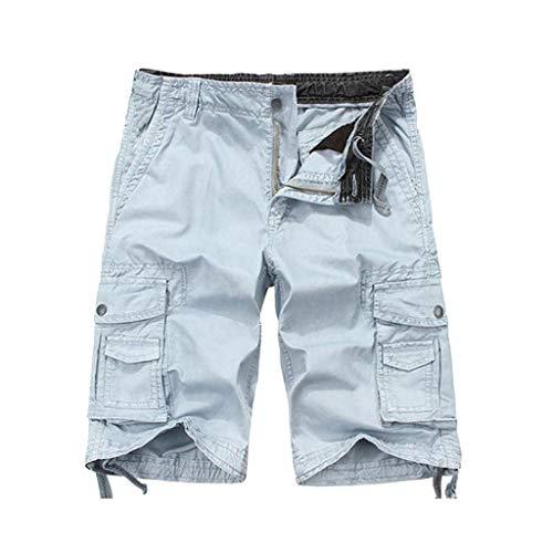 Sonnena Herren Sommer Sweatshorts, Loose Freizeithosen Multi-Pocket Cargo Pants Casual Trainingshose Sporthose Strand Shorts Beachshorts