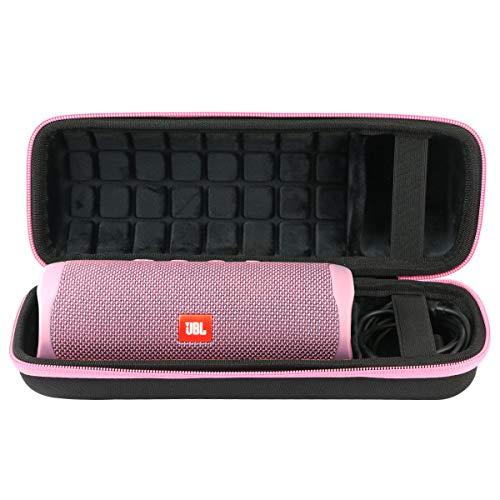 co2CREA Voyage Stockage Porter Étui Housse Case pour JBL Flip 5 Enceinte Bluetooth Portable (External Black,Pink Zipper)