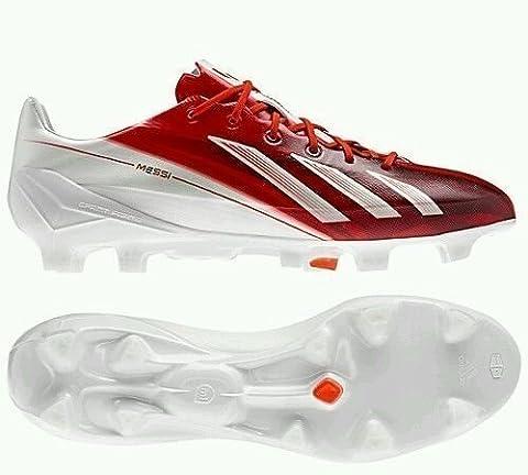 adidas adizero F50 TRX FG SYN Messi, Chaussures de foot pour garçon - Blanc - Blanc, 40 2/3 EU