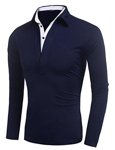 Burlady Poloshirt Tshirt Herren Polohemd Langarmshirt Sweatshirt Sport Langarm Shirts Freizeit Polokragen Männer Viele Stile C-Navyblau