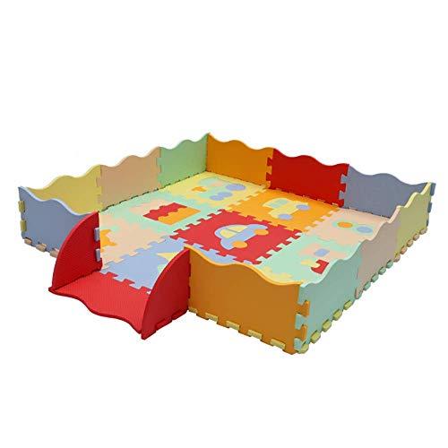 Beige Fliesen-böden Legen (ADATEN Baby Puzzle-Spielmatte Mit Zaun Cartoon Muster Eva-Schaum Kriechen Teppichboden Falten Verzahnung Fliesen Spielbereich Für Kinder Weicher Spume Aktivität rutschfest Decke,Beige)