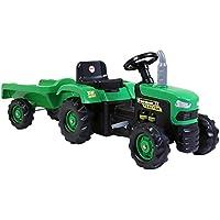 Accionado por pedal Paseo de dolu niños de los niños en el tractor verde con el