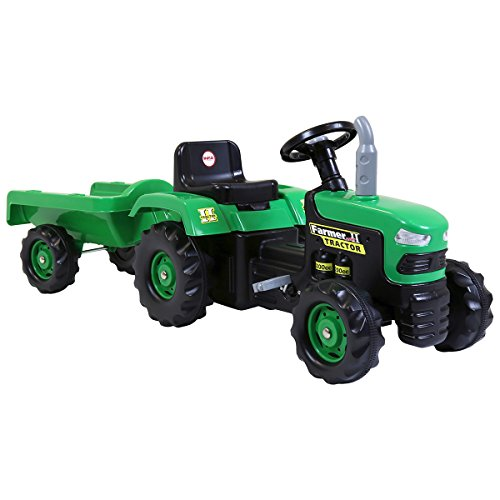 Charles Bentley Accionado por Pedal Paseo de dolu niños de los niños en el Tractor Verde con el acoplado Edad 3+ años