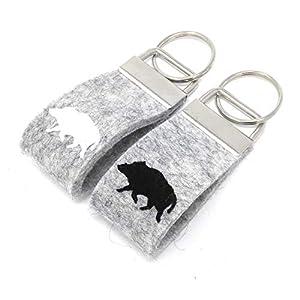 MIKALENI Schlüsselanhänger Wildschwein Keiler Wollfilz personalisiertes Geschenk