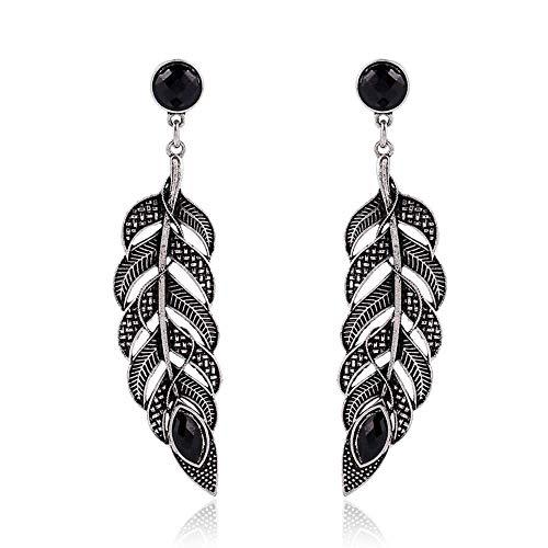Ohrringe Boho Vintage Silber Blatt Feder groß Tropfen Ohrringe Damen neue Mode lange Statement Ohrringe Maxi Brinkos