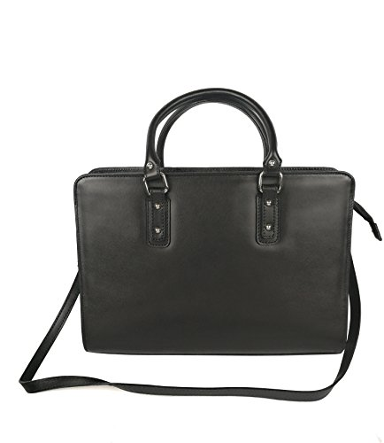 Zerimar Damen Leder Aktentasche Umhängetasche mit großer Kapazität Weiches Leder laptop leder tasche frau Tasche für Dokumente Schwarz