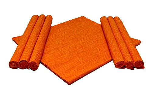 Home Colors Orange Cotton Table Linen Set (6 Place mats and 1...