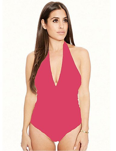 GSP-Combinaisons Aux femmes Sans Manches Sexy / Moulant Polyester / Spandex Fin Micro-élastique pink-xl