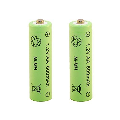 Akku aufladbare Batterie Ni-MH NiMH AA Mignon 1,2 Volt 600mAh Solar 2 STÜCK