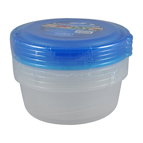 Stor-All Solutions Keepers Containers Round Food Storage Set, Large, Clear, 5 Piece - Stor-keeper
