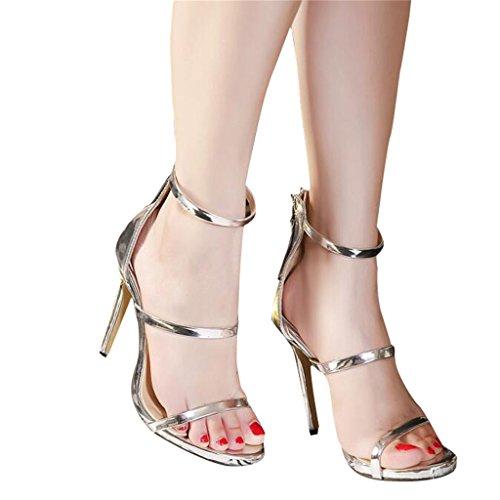 ALUK- L'Europe et les États-Unis - Sexy Toe Hollow Sandales à talons hauts Chaussures sauvages ( Couleur : Silver , taille : 36 ) Silver