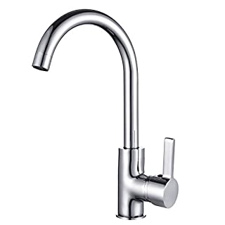 Funime Kitchen Sink Taps Mixers Monobloc Modern Single Lever Chrome Brass Swivel Spout with Hoses