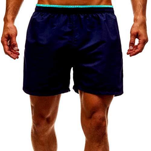 YCQUE Herren Badeshorts Sommer Breathable Lässige Classic Solid Fashion Einfache Lose Splice Streifen Badehose Strand Arbeit Casual Elastische Band Kurze Hose Shorts Hosen Trainingshose