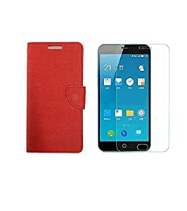 ZYNK CASE FLIP COVER RED WITH TEMPERED GLASS FOR MEIZU M3 NOTE