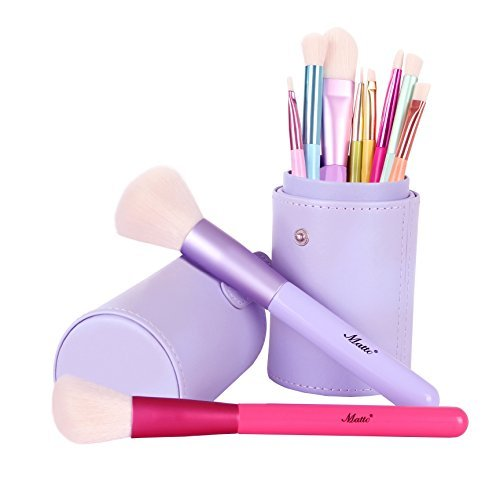 Matto Brosses de Maquillage Poignées en Bois Colorées de 10 Pièces Poils Synthétiques Ensemble de Brosse à Maquillage Avec Porte-brosse Cosmétique