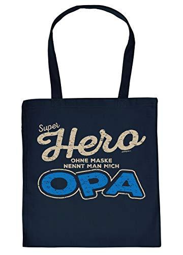 Enkel - Opa Geschenk-Tasche - Sprüche Baumwolltasche Opi : Super Hero ohne Maske nennt Man Mich Opa - Einkaufstasche Geschenktasche Großvater -Farbe: Navyblau - Opi-maske