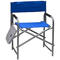 Chair for camping and trips with side table, Blue
