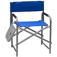 كرسي رحلات وتخييم مع طاولة جانبية - أزرق