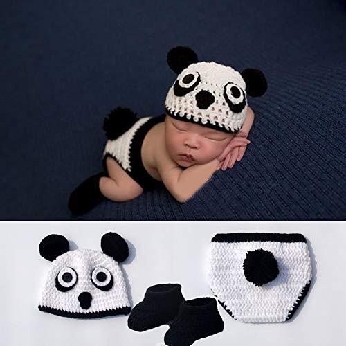 Cartoon Panda Kostüm - mAjglgE Baby Fotografie Requisiten für Neugeborene, Cartoon-Design, Panda, gestrickte Höschen, Beanie-Socken, Kostüm, Fotografie-Requisite