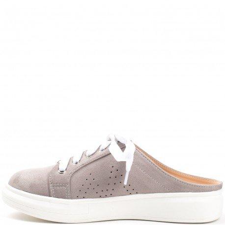 Ideal Shoes - Baskets style mules effet daim Venante Gris