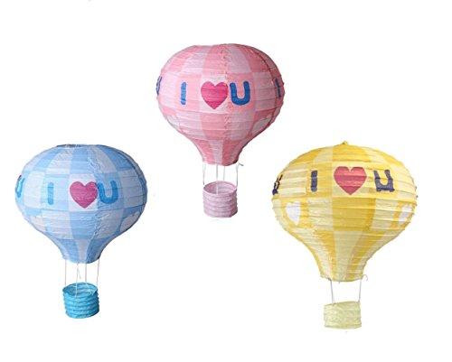 matissa 3Stück Hot Air Ballon I Love You Papier Laterne Hochzeit Party Dekoration Craft Lampenschirm, I Love You (Mix), 12