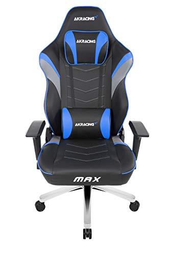 AKRACING Master Max Wide Gaming Stuhl mit 5 Jahren Herstellergarantie für PC/PS4/XBOX/Nintendo, Schreibtischstuhl mit Kissen, PU-Kunstleder - Schwarz/Blau