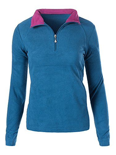 Diva-Jeans L929 Damen Fleece Pullover Micropolar Sweatshirt Hoodie Jacke Langarm Half Zip, Farben:Blau, Größen:XXL Micropolar-fleece