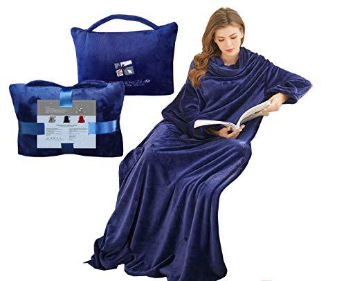 Kuscheldecke mit rmeln und Taschen für Handy/Fernbedienung, Geschenk für Frauen, Sofa-Decke, TV-Decke, Blau, 36-42
