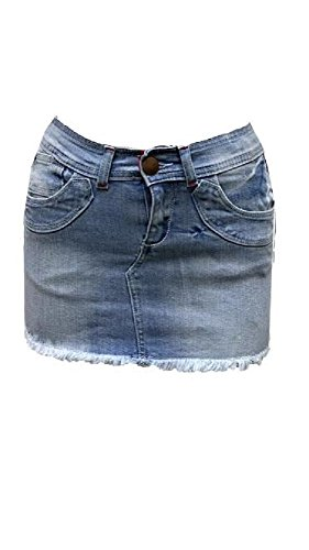 Rewatronics New Women's Denim Skirt Short Mini Skirts Ladies Blue Jean. UK 8-14