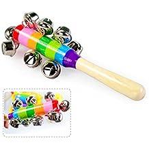 MMRM bebé Arco iris del cabrito actividad madera de Campanas Juguetes Sonido Sonajero Instrumento Musical del Campanilla juguete para Niños Bebés