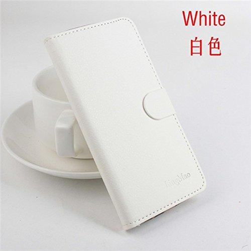 LingMao Easbuy Pu Leder Kunstleder Flip Cover Tasche Handyhülle Case Mit Halter Und 3 Karte Slot Design für JIAYU S3 4G LTE Smartphone (Weiß)
