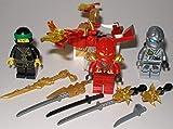 Lego Ninjago Figuren Ninjago Kai Lloyd Titanium Zane und Kai`s Feuerdrache und bmg2000 Aufkleber