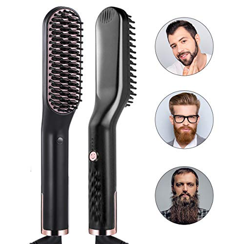 Liaboe Cepillo Alisador de Barba Plancha de Pelo Barba Flequillo Peine Alisador Eléctrico Multifuncional...