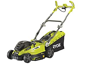 Ryobi RLM18C34H25 ONE+ 36 V Cordless Hybrid Lawnmower with dual 2.5 Ah 18 V Lithium Plus Batteries, Charger and Cable for Mains Power