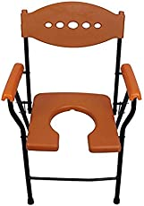 A.P SURGICAL ORANGE Folding Commode Chair Comes With Arm Rest And Back Rest
