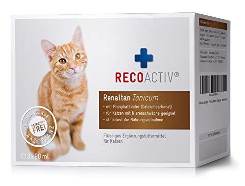 RECOACTIV® Renaltan Tonicum für Katzen mit Phosphatbinder, 3 x 90 ml, Nahrungsmittelergänzung für nierenkranke Katzen, Stärkungsmittel zur Rekonvaleszenz bei Niereninsuffizienz der Katze