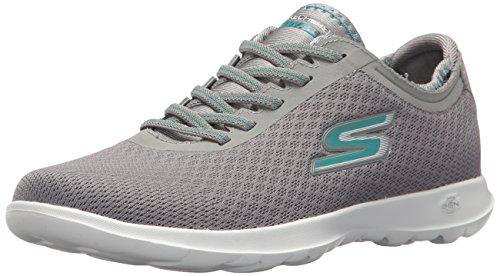 Skechers Damen Go Walk Lite-Impulse Sneaker, Grau (Charcoal/Turquoise), 38.5 EU