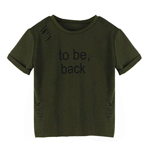 OverDose Frauen T-Shirts Briefe gedruckt O-Ausschnitt Kurzarm Hedging Loch Bluse Sommer Tops Armee Grün