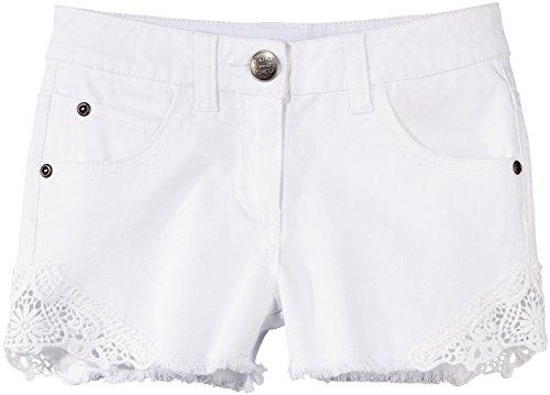 PEPPERTS® Kinder Mädchen Jeans Shorts (weiß mit Spitze, Gr. 152)