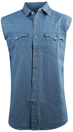 Baumwolle Western Shirt (Canyon Herren Biker-Shirt Guide Sleeveless Denim Western-Snap-Front, Herren, Denim, Large)